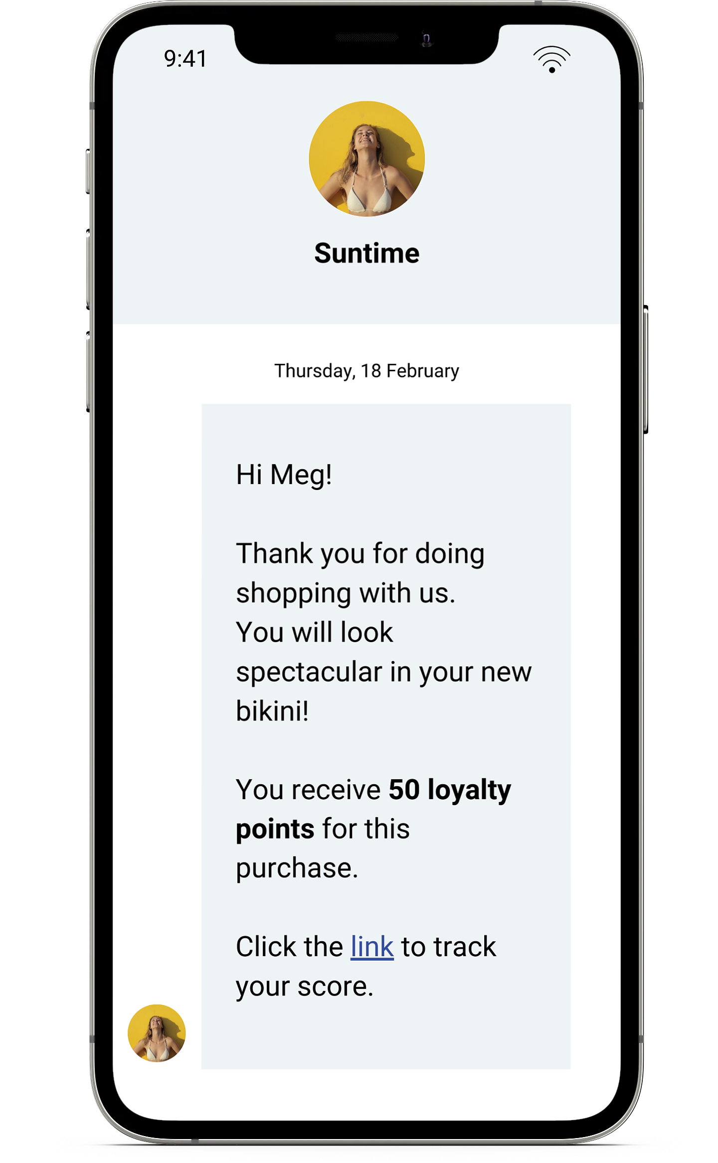 Example of loyalty notification