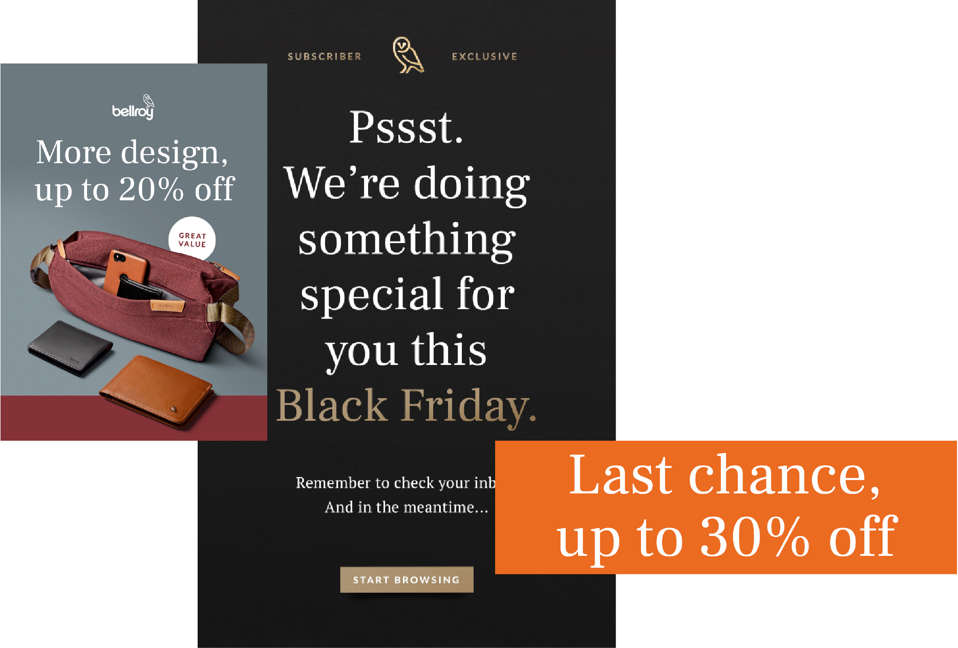 How Bellroy handled Black Friday with cart promotions and gift cards?