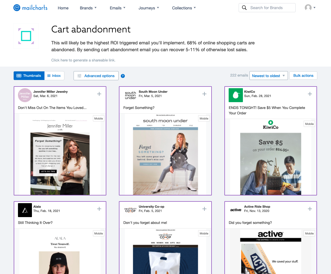 MailCharts 3 – cart abandoned email campaigns from multiple brands list