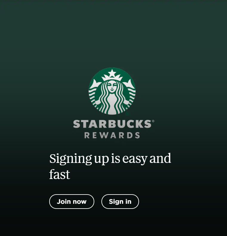 Starbucks Rewards App join screen