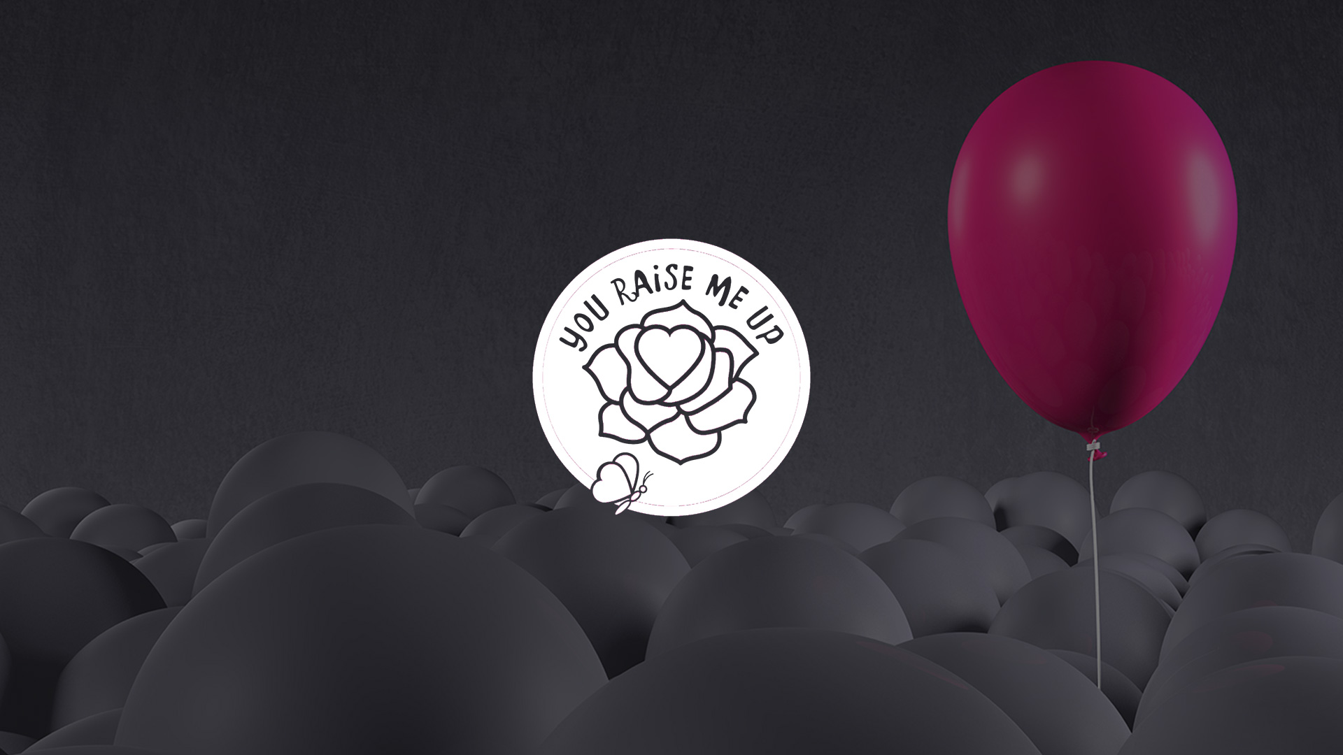 Graphic of a Pink Balloon Amongst Grey Balloons