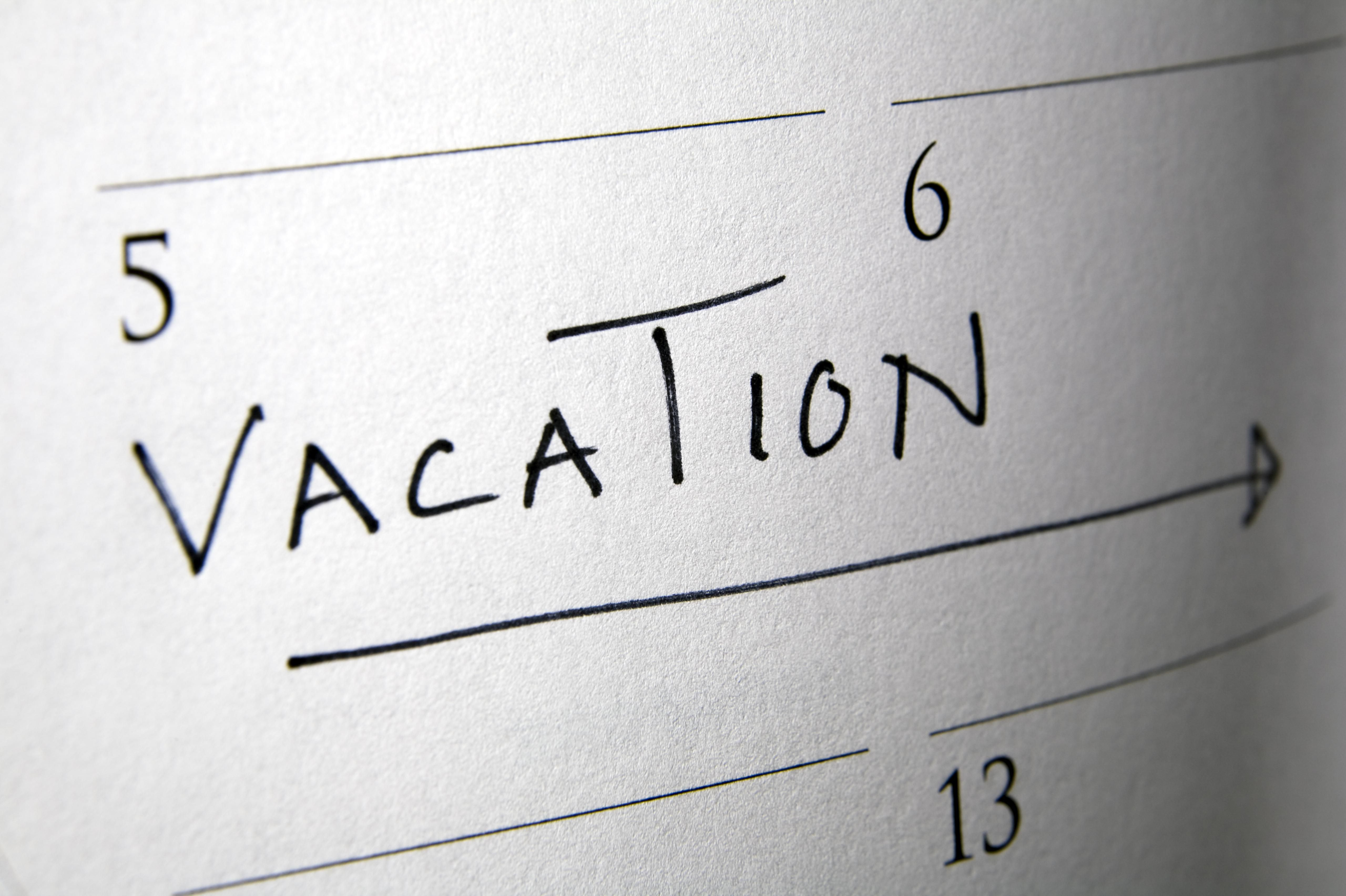 Vacation/Holidays from Work