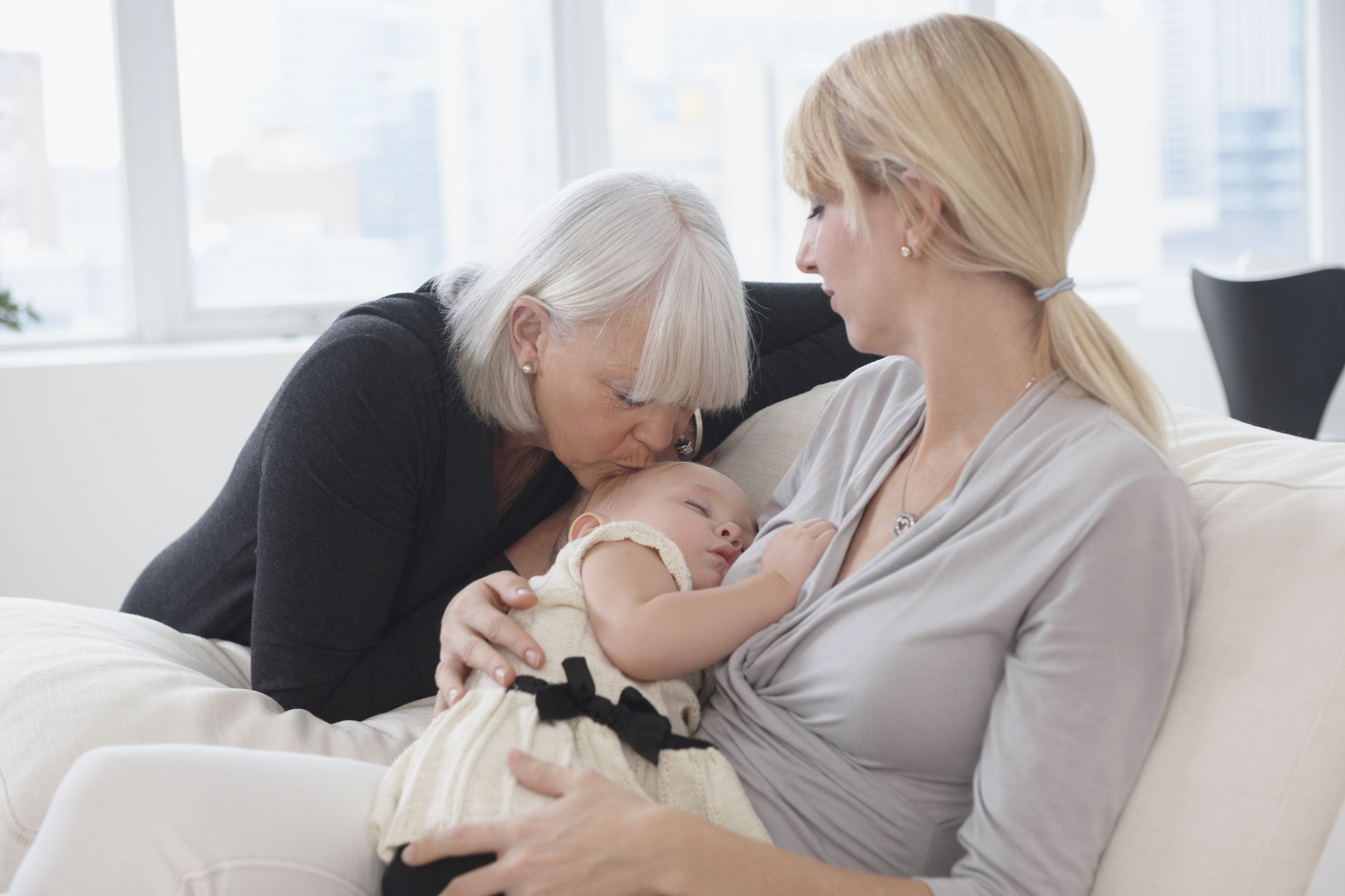 Three generations of Caucasian women relaxing together