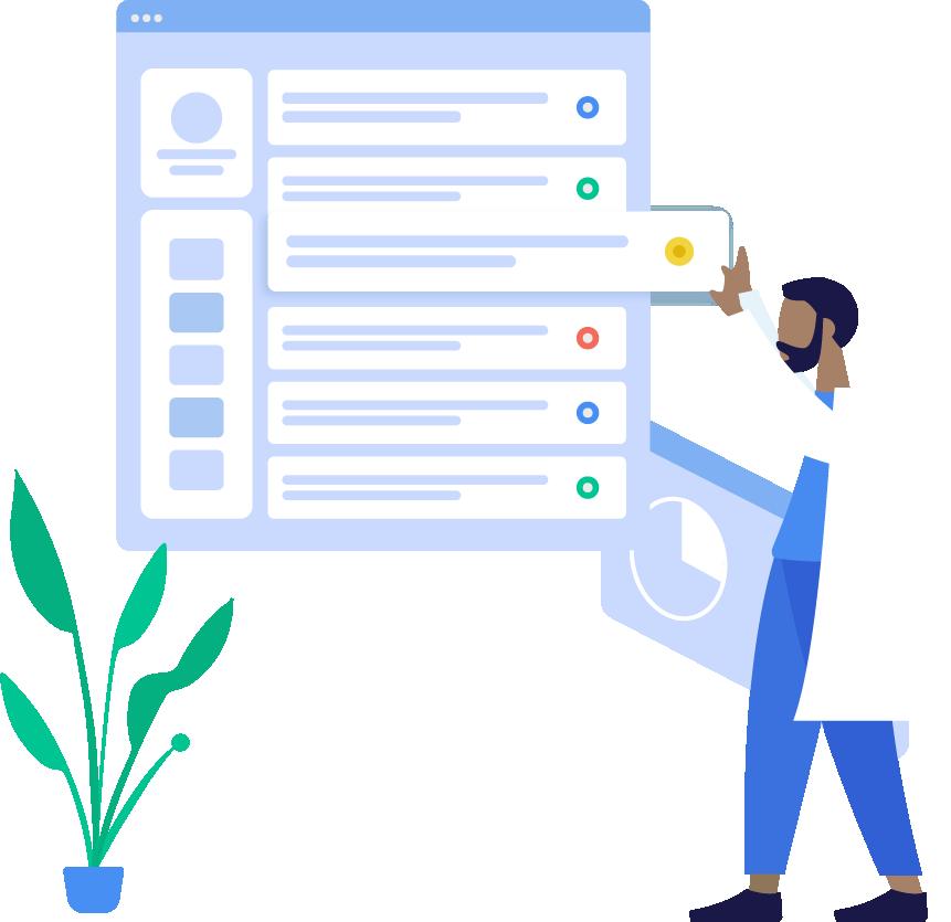 Ilustración de médico organizando los módulos de una pantalla