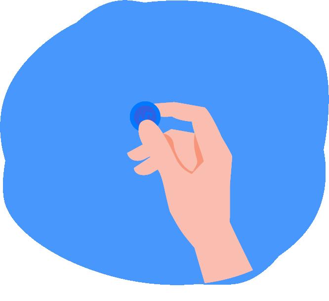 Manos sosteniendo una moneda