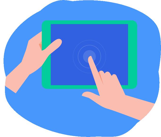Manos sosteniendo y utilizando un tableta digital