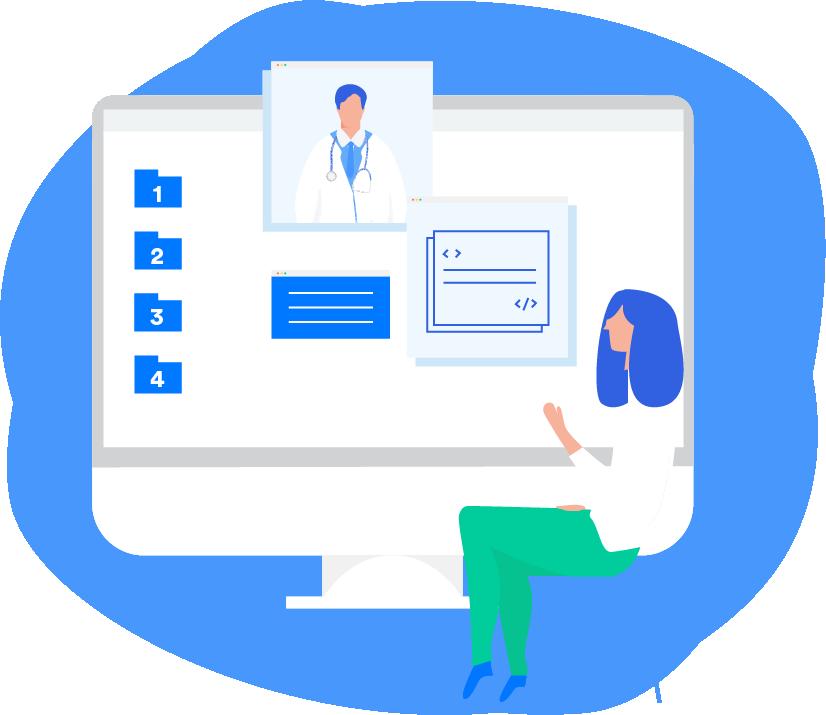 Medica con computadora y organizando archivos médicos