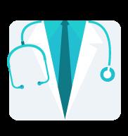 Bata de médico y estetoscopio