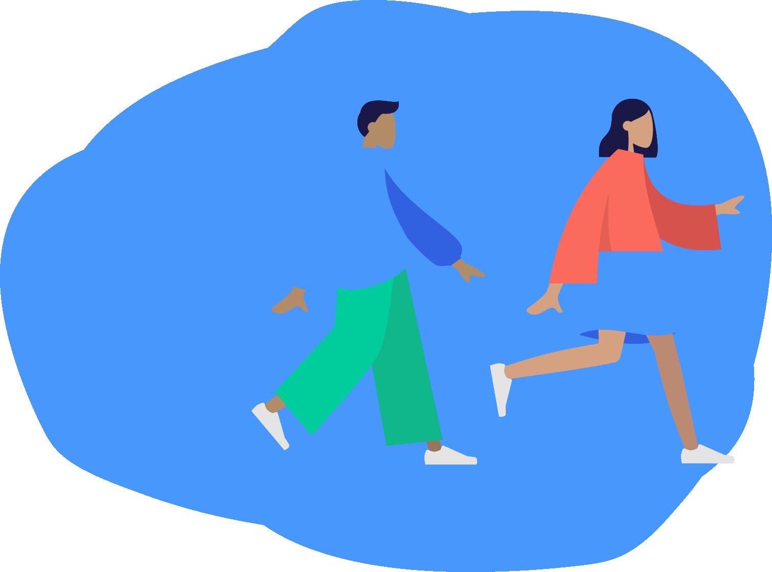 Mujer y hombre de costado caminando