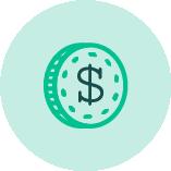 green dollar sign coin