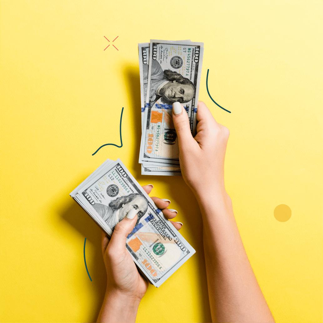 women hands counting money