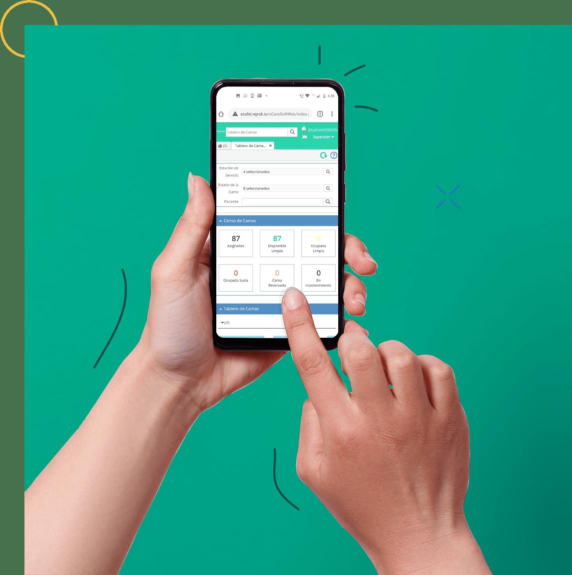 hands holding phone using cirrus app