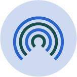 green and blue wifi circles