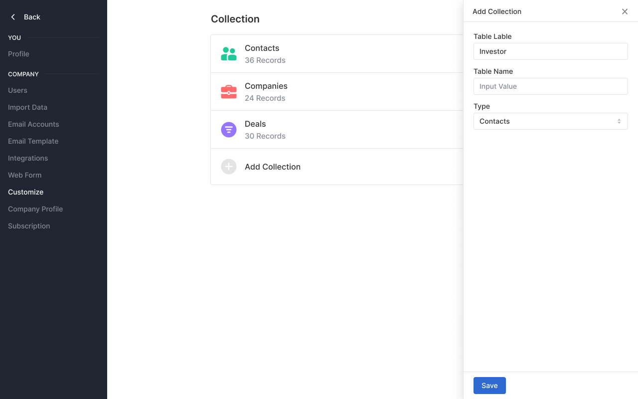 Add custom collection
