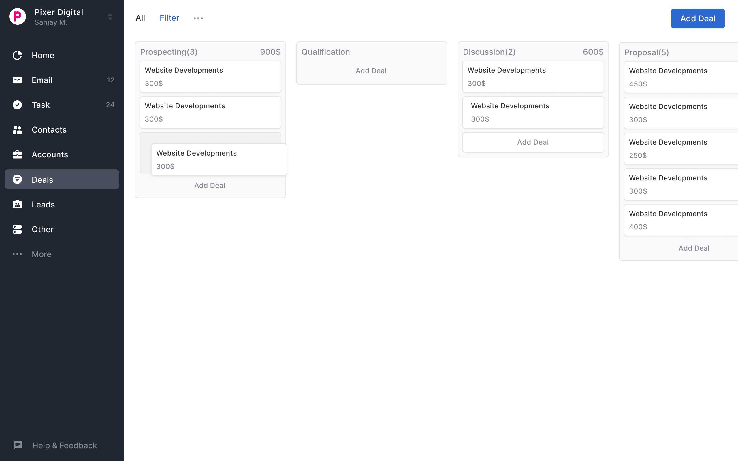 New kanban view for deal