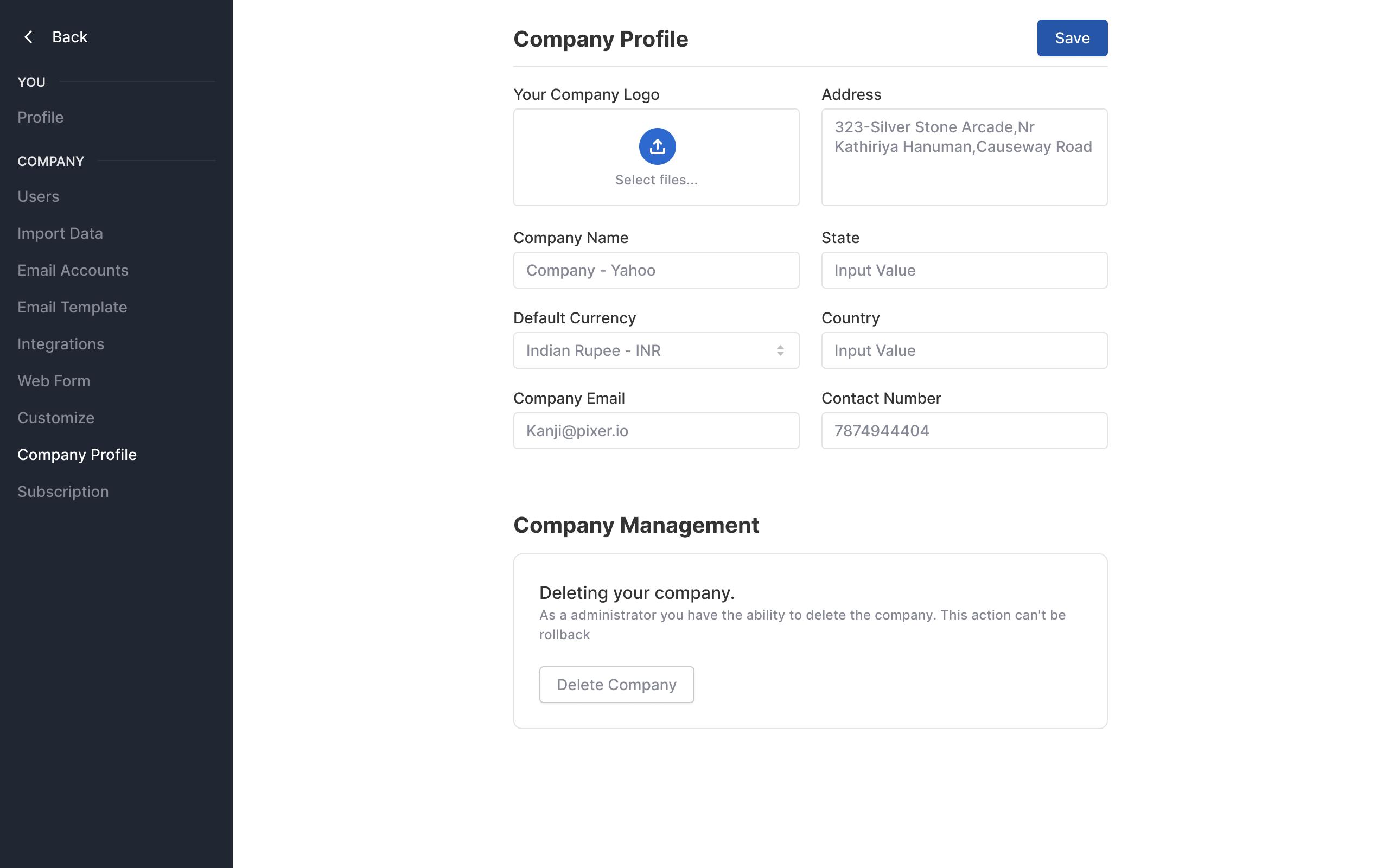 New company settings