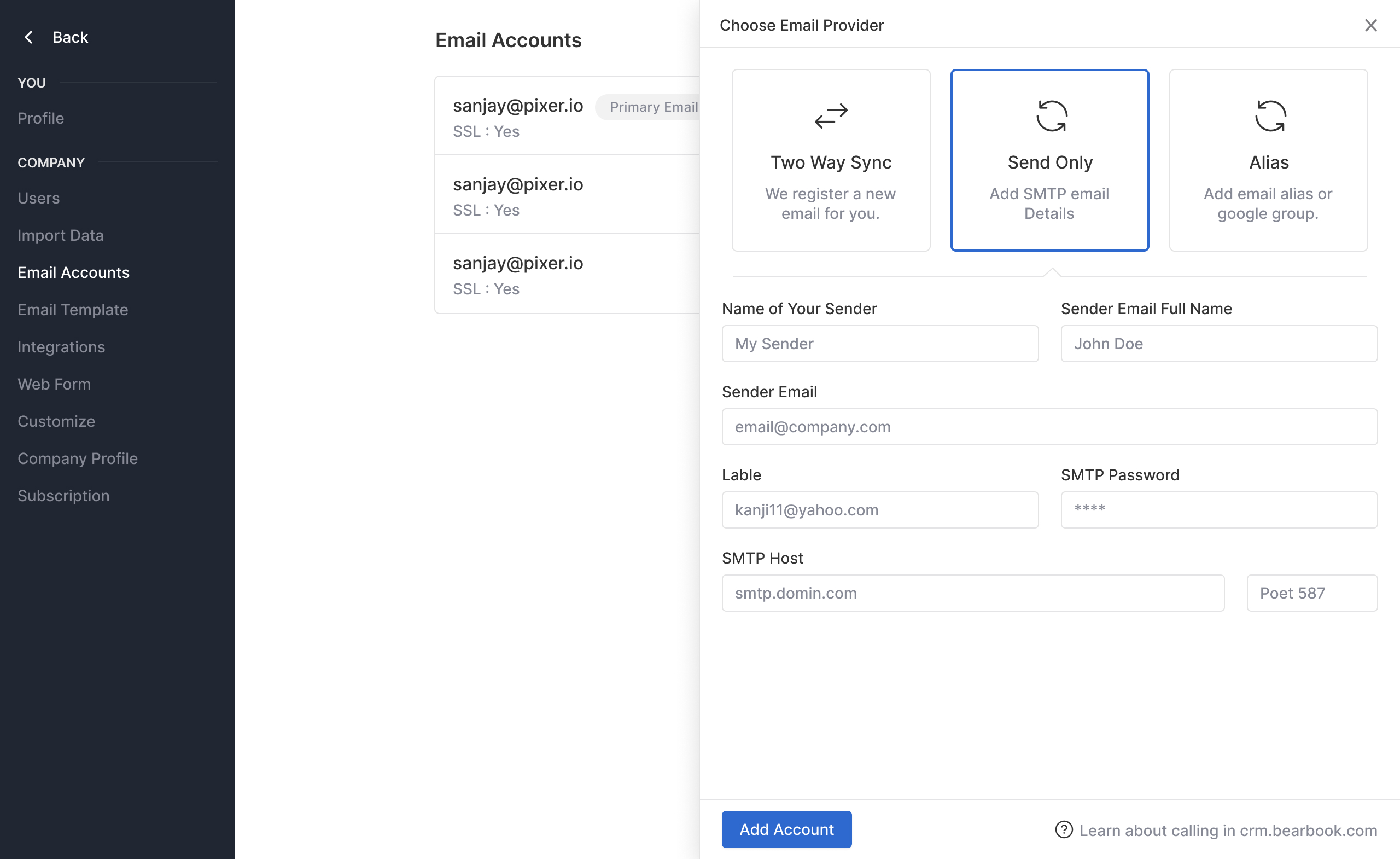 Add send-only email account
