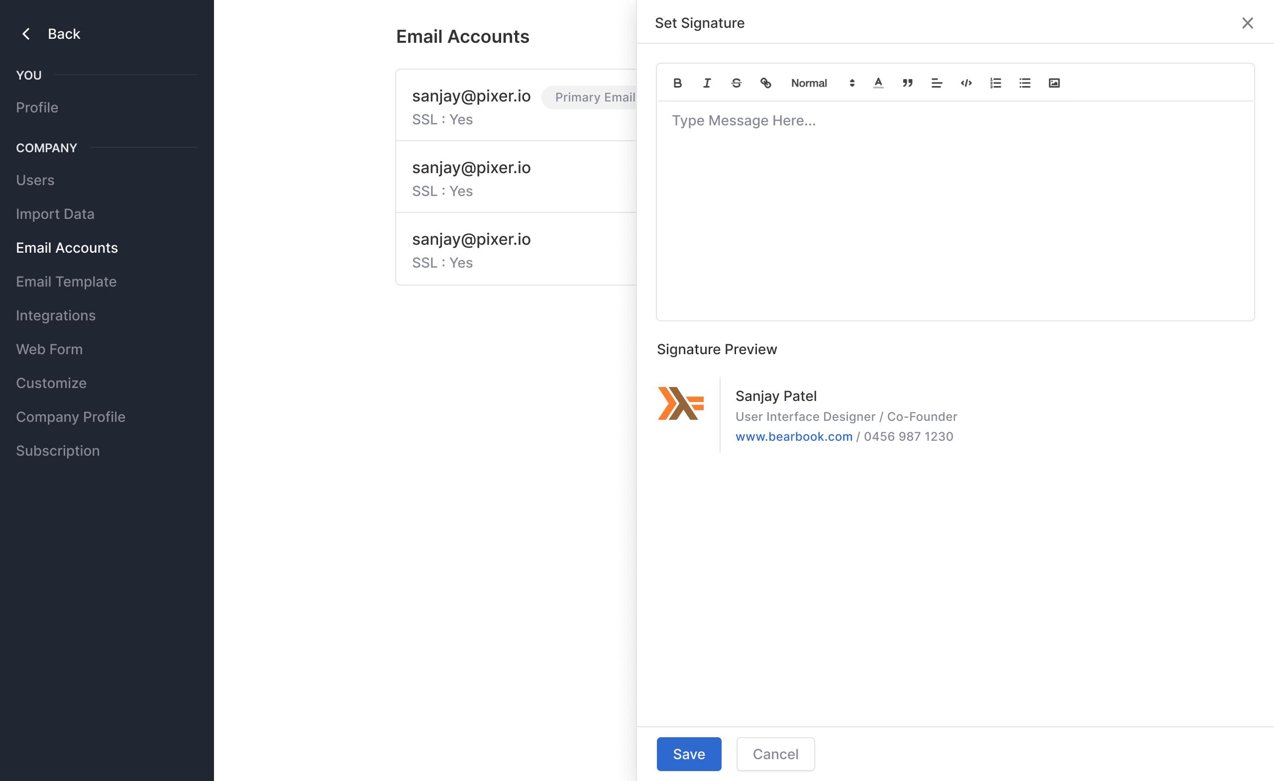Signature in email