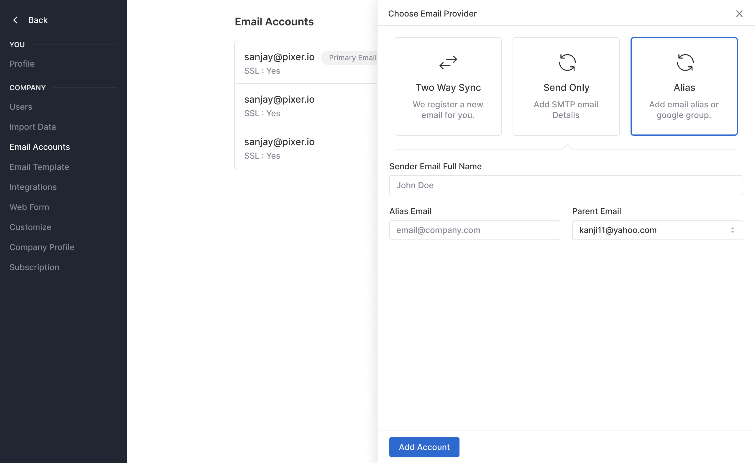 Alias support in send email