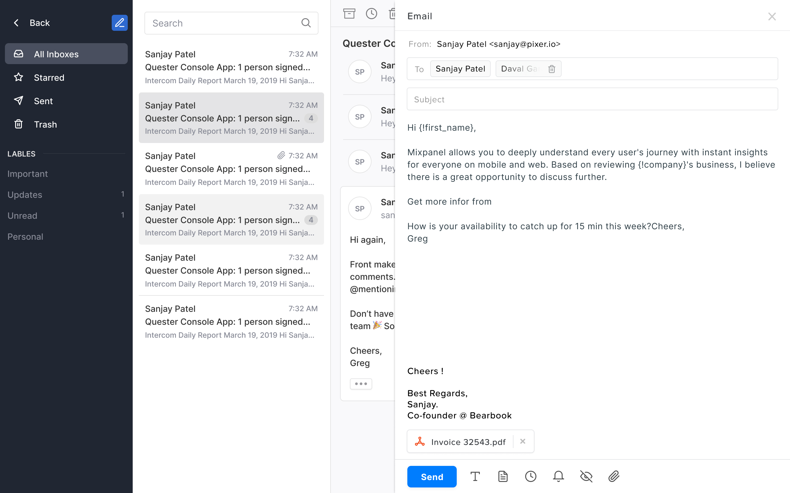 Dynamic variable in email template