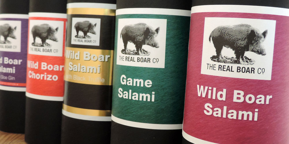 The Real Boar Company range of salamis