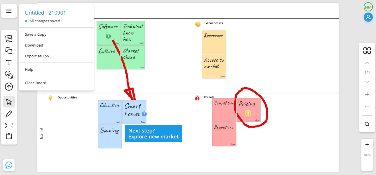 Free online whiteboard SWOT save and share