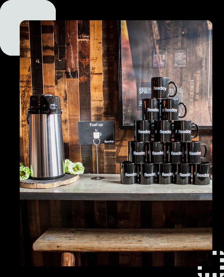 Flexday mugs and coffee set up