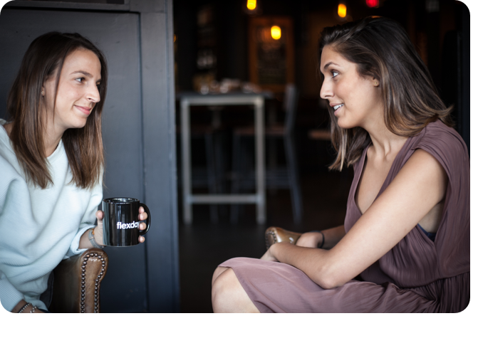 two women chatting