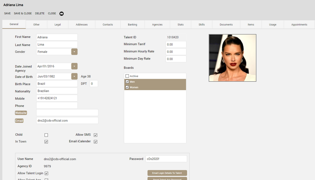Model and Talent Agency Software