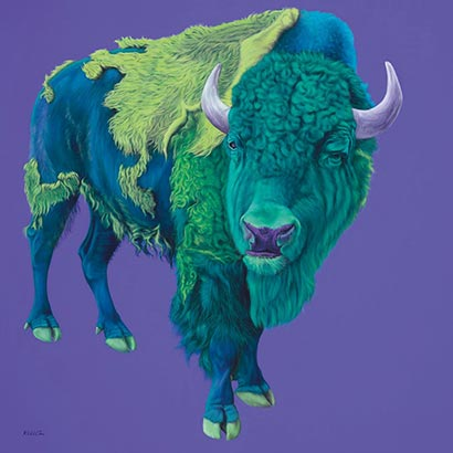 "Kunstwerk ""Bison on Purple"" von Helmut Koller"