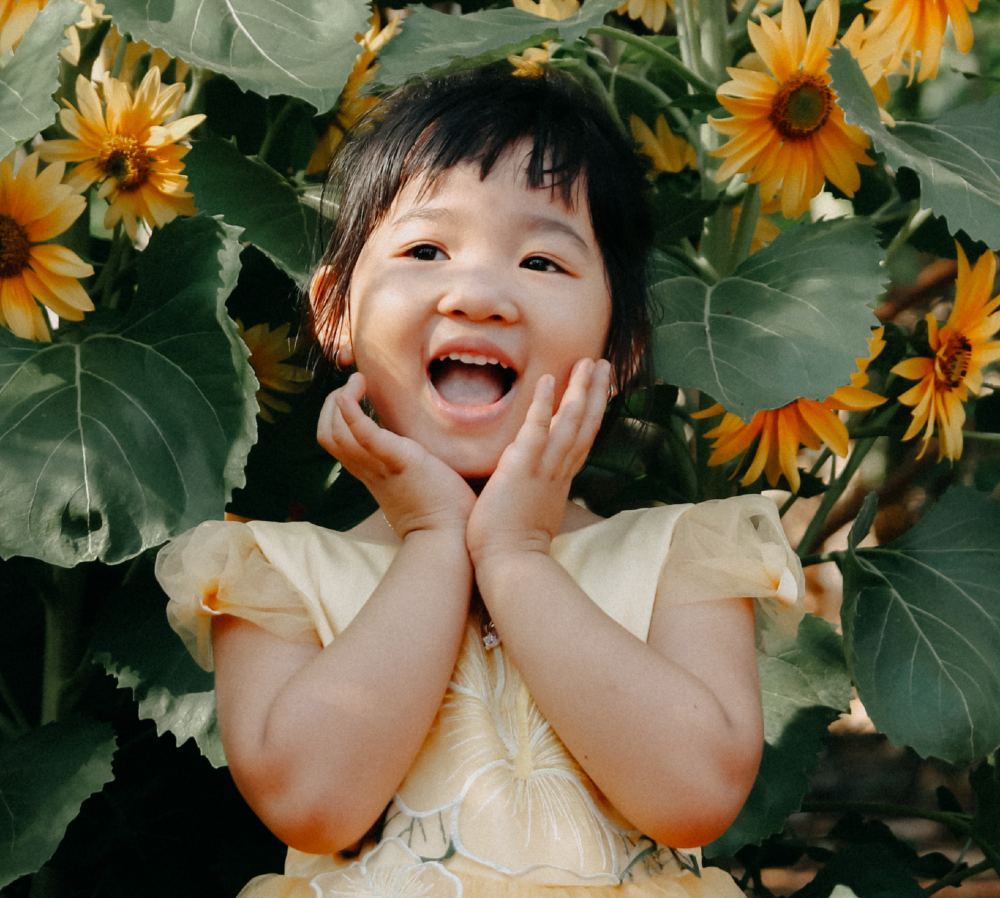 little girl smiling in sunflowers