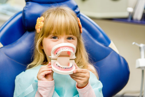 A little girl sitting in dentist chair holding up a model of teeth