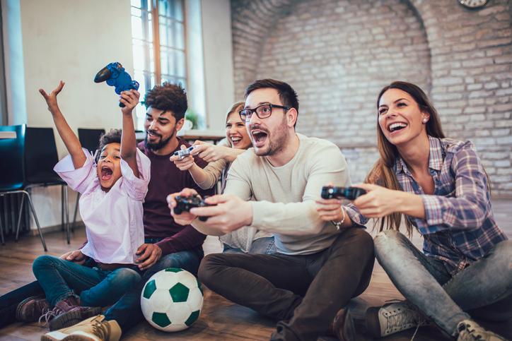 Family enjoying gaming together