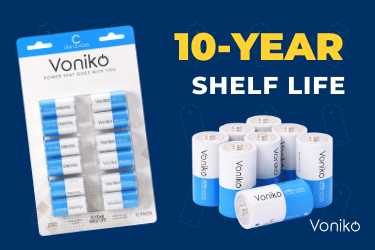 Photo of Voniko ULTRA Alkaline C Cell Batteries with 10-year shelf life