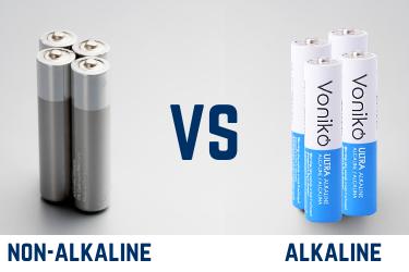 Battery comparison non-alkaline vs Voniko ULTRA Alkaline AA bulk batteries