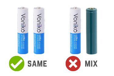 Never mix different battery chemistries in the same device - Voniko ULTRA Alkaline AA Bulk Batteries