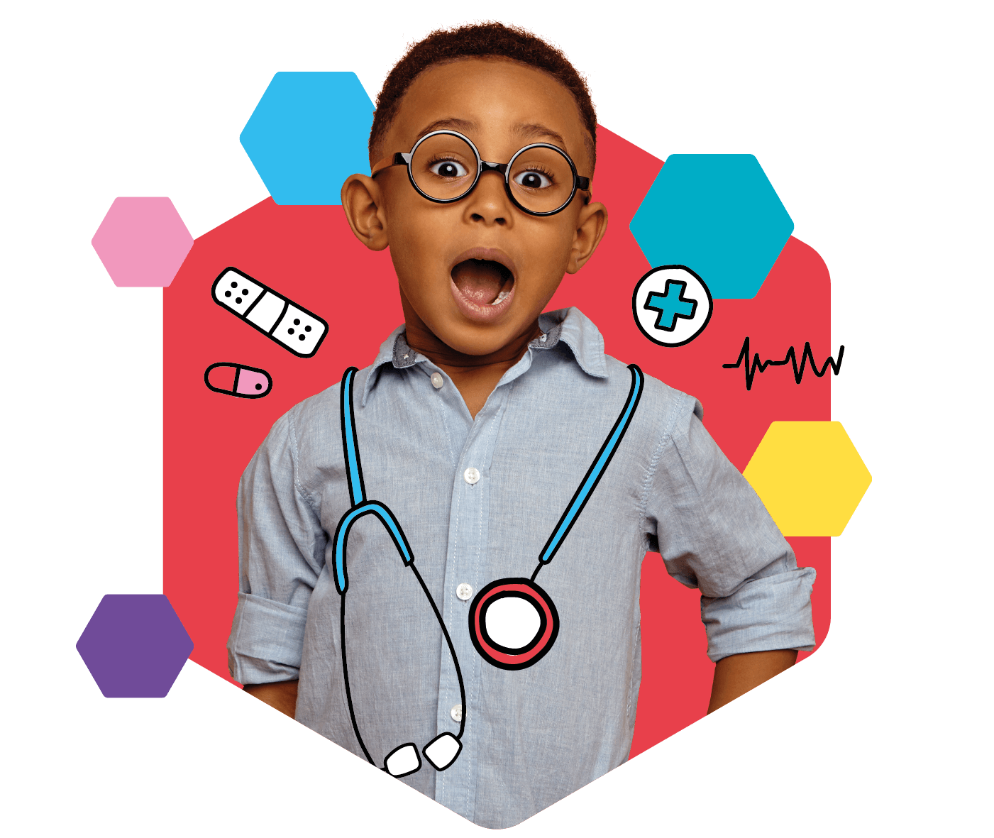 Young boy dressed up as a doctor with a stethoscope around his neck