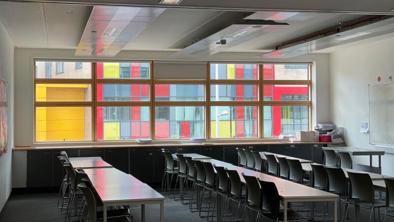 Empty classroom at ST Paul's Way Trust School, London