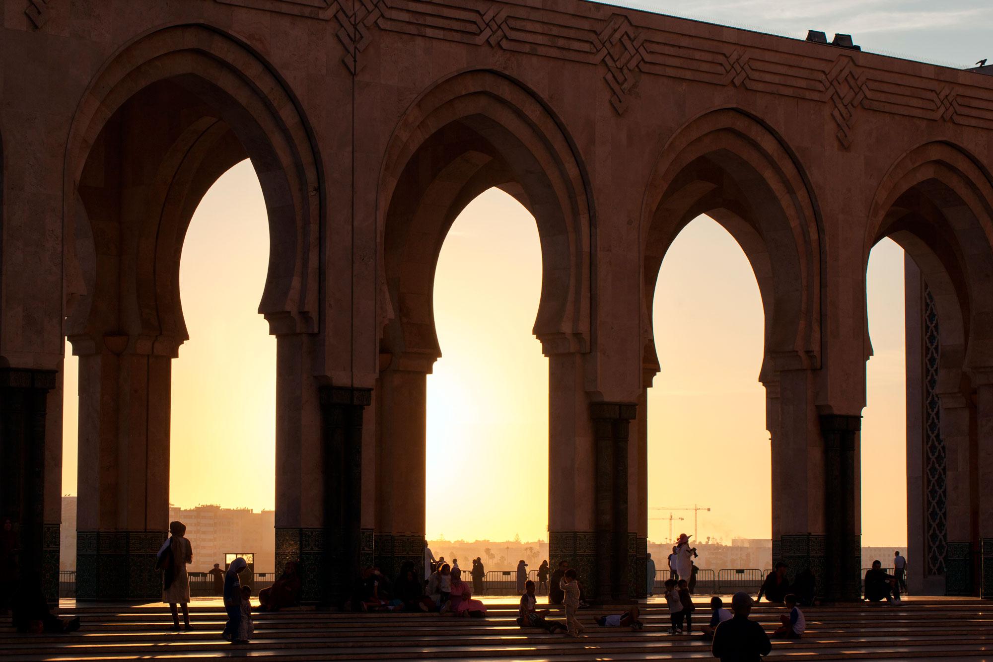 architecture religieuse mosquée Hassan II Casablanca soleil couchant