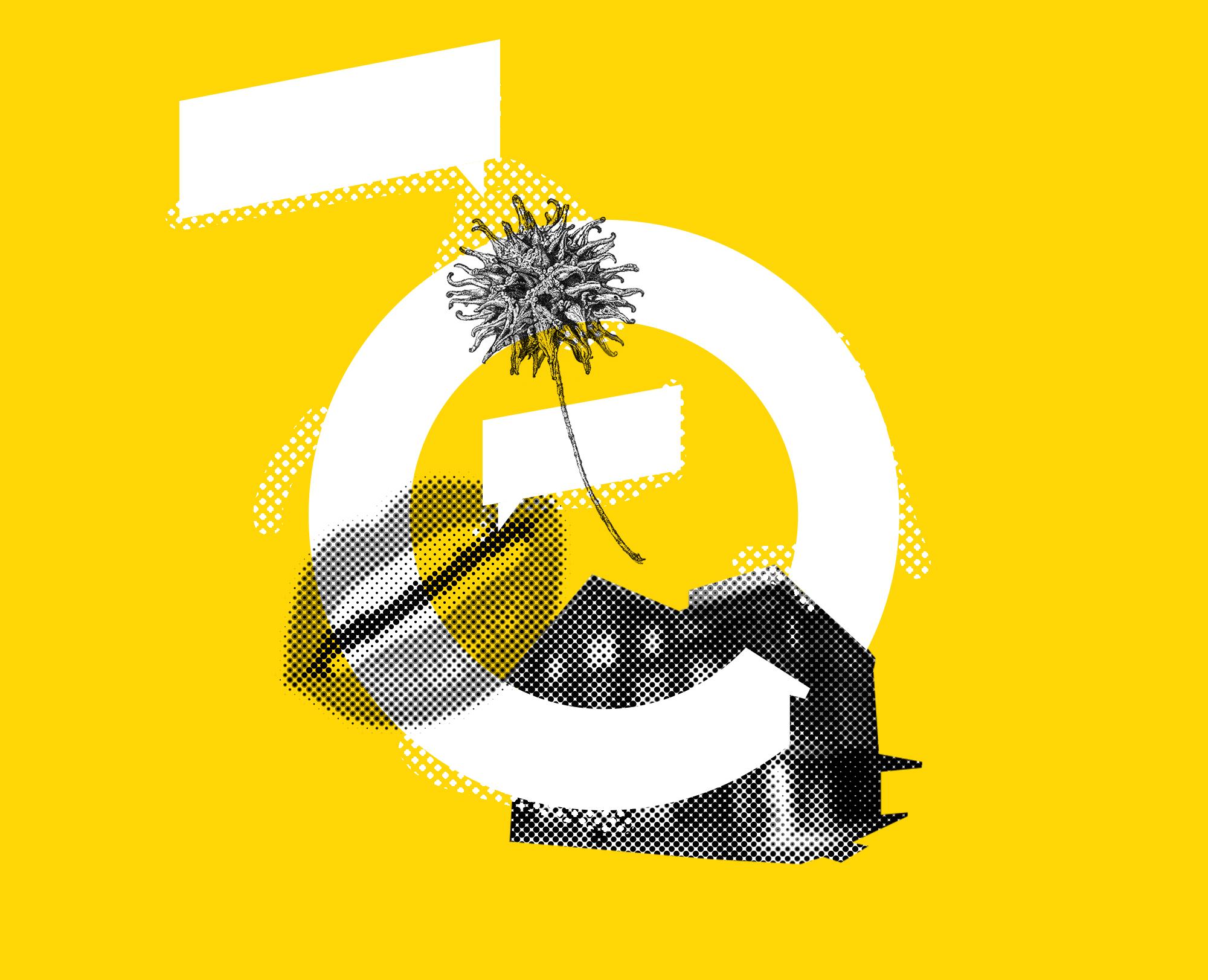 Collagen Illustration mit Mund, Blüten, Theater Ticino und grafischen Elementen zum Thema Dialog