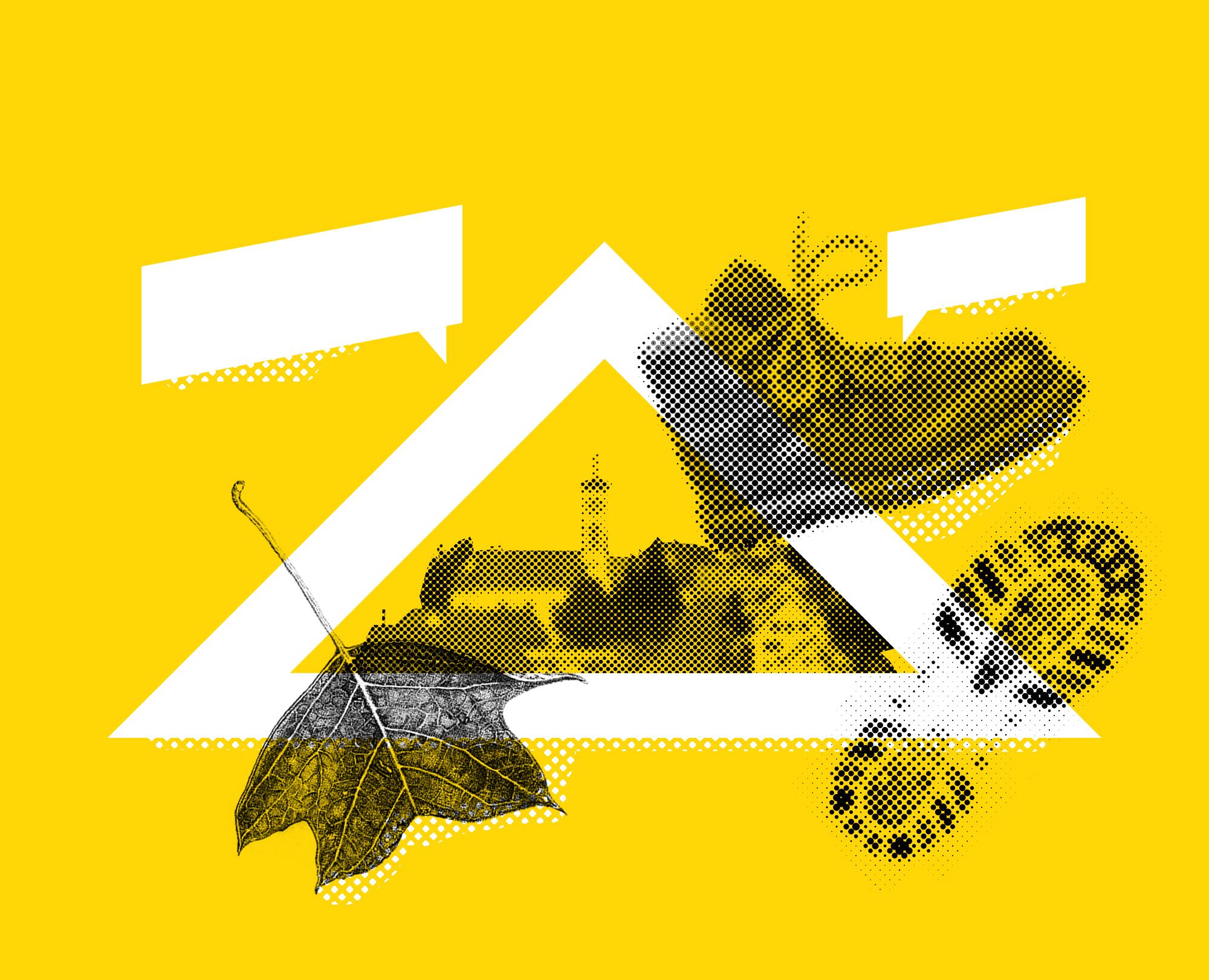 Collagen Illustration mit Hütten, Wanderschuh, Ahornblatt, Schuhabdruck und grafischen Elementen zum Thema Spaziergang