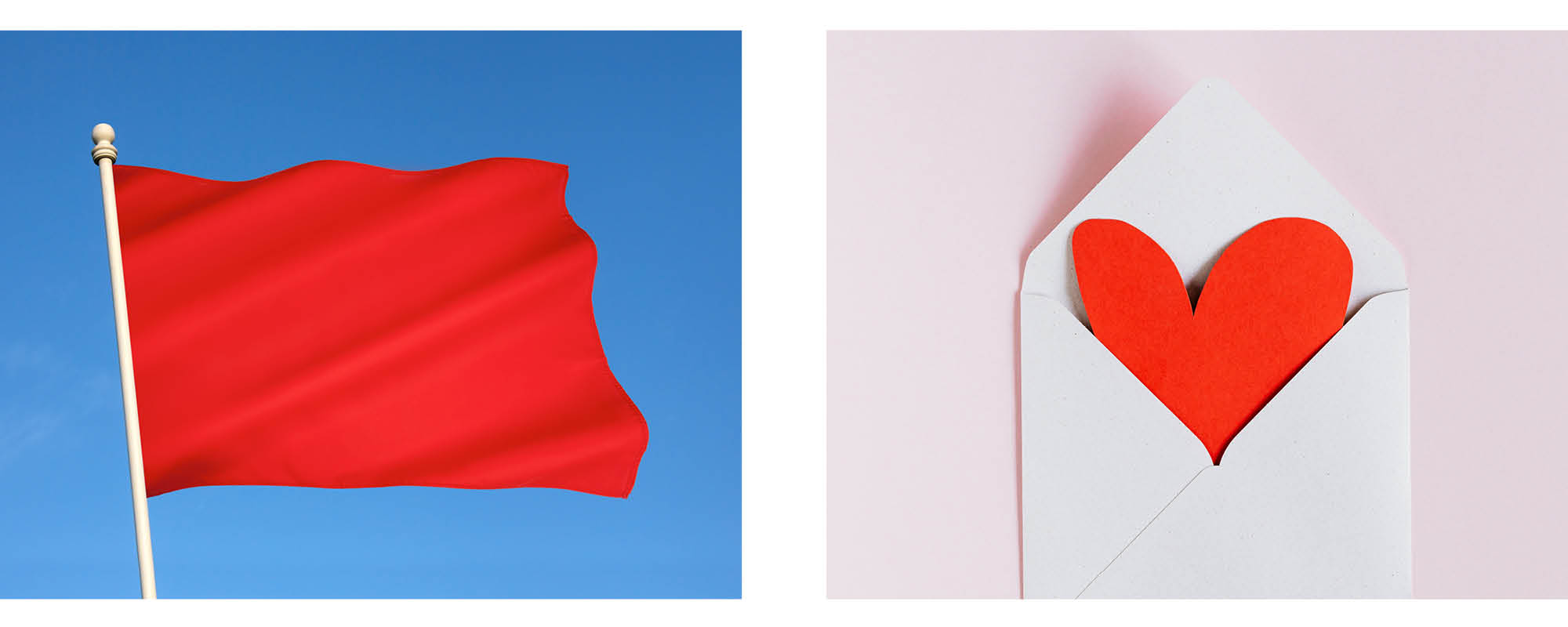 power of colour in a brand using red as an example with a red danger flag and a red love heart showing branding options