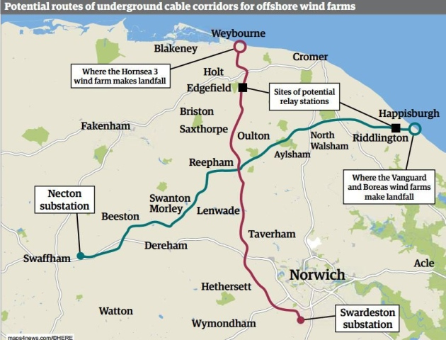 The two routes for new cable corridors for offshore windfarms across Norfolk. Image: Archant