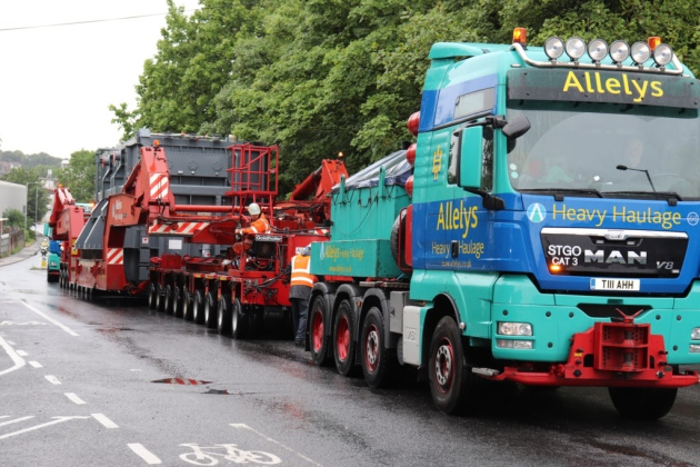 The abnormal load makes it's way from Ipswich Quay, as it heads to the National Grid substation in Burwell, Cambridgeshire.  Picture: GRAHAM MEADOWS