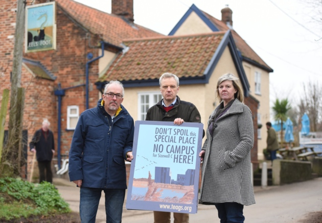 Paul Collins, Charles Mcdowell and  Alison Downes from Therberton and Eastbridge Action Group on Sizewell (TEAGS)   Picture: SARAH LUCY BROWN