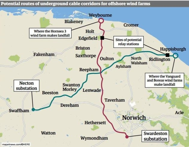 The routes of the cable corridoors which will be dug to connect new offshore wind farms to the National Grid at Necton and Swardeston. Image: Archant