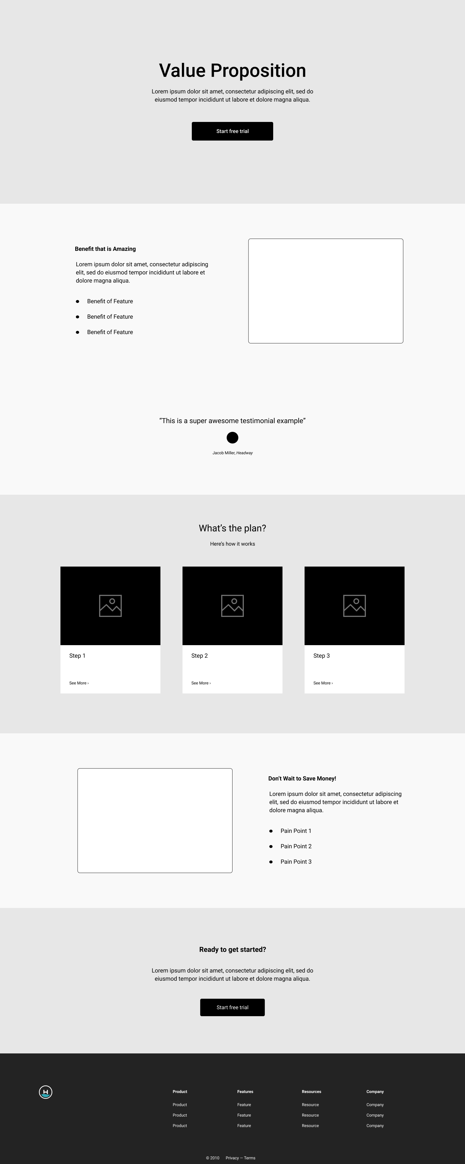 product landing page layout graphic