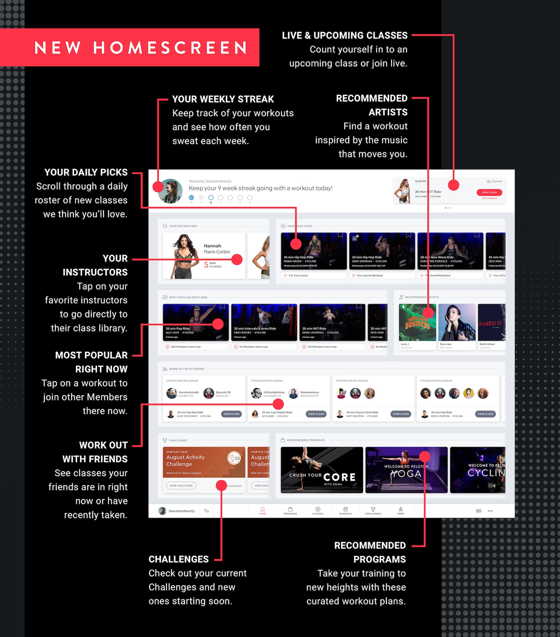 peloton new home screen layout