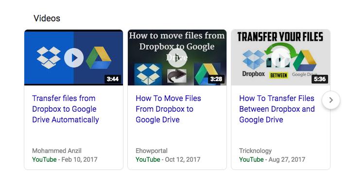 Screenshot of Youtube videos
