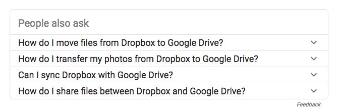 Screenshot of Google search terms